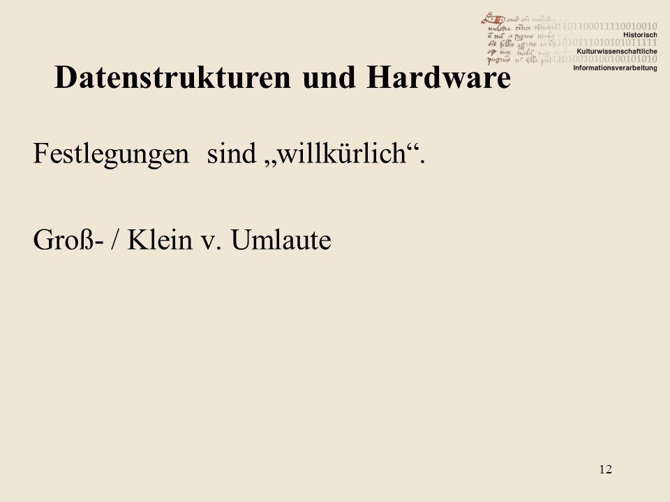 """Festlegungen sind """"willkürlich . Groß- / Klein v. Umlaute Datenstrukturen und Hardware 12"""