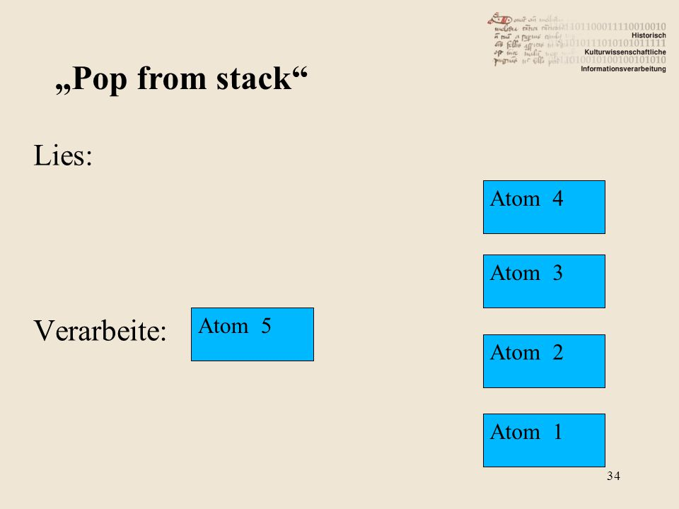 "Lies: Verarbeite: ""Pop from stack"" Atom 5 Atom 4 Atom 3 Atom 2 Atom 1 34"