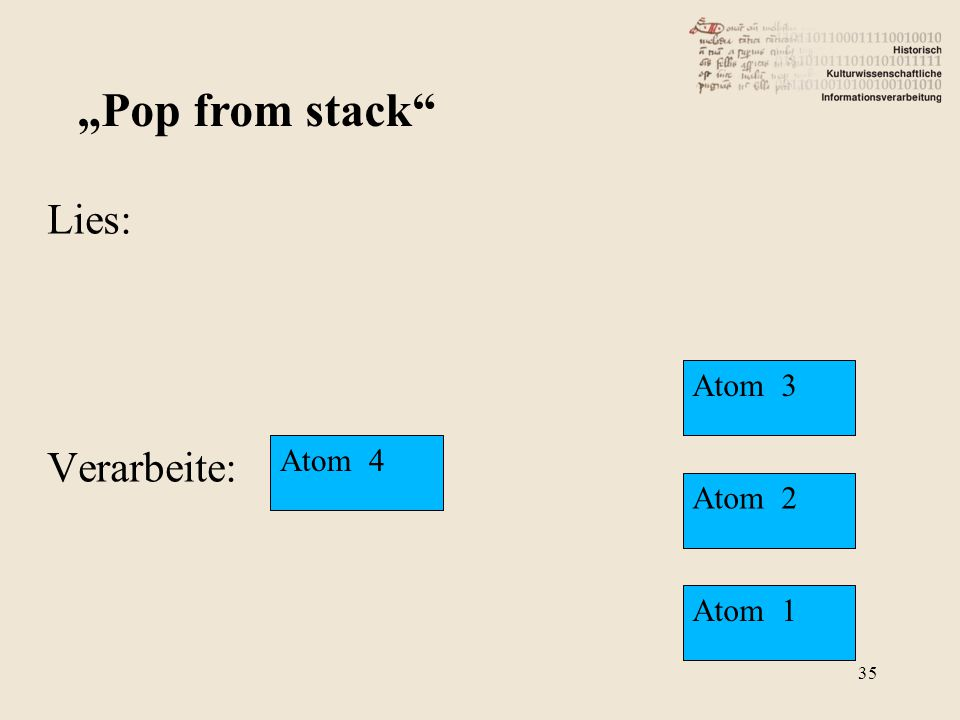 "Lies: Verarbeite: ""Pop from stack"" Atom 4 Atom 3 Atom 2 Atom 1 35"