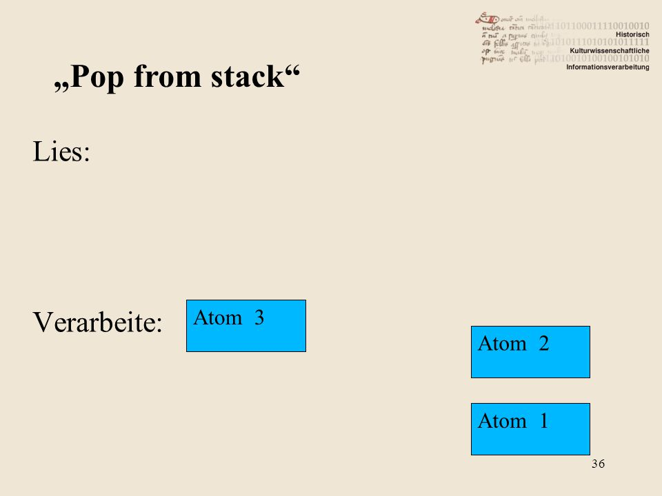 "Lies: Verarbeite: ""Pop from stack"" Atom 3 Atom 2 Atom 1 36"