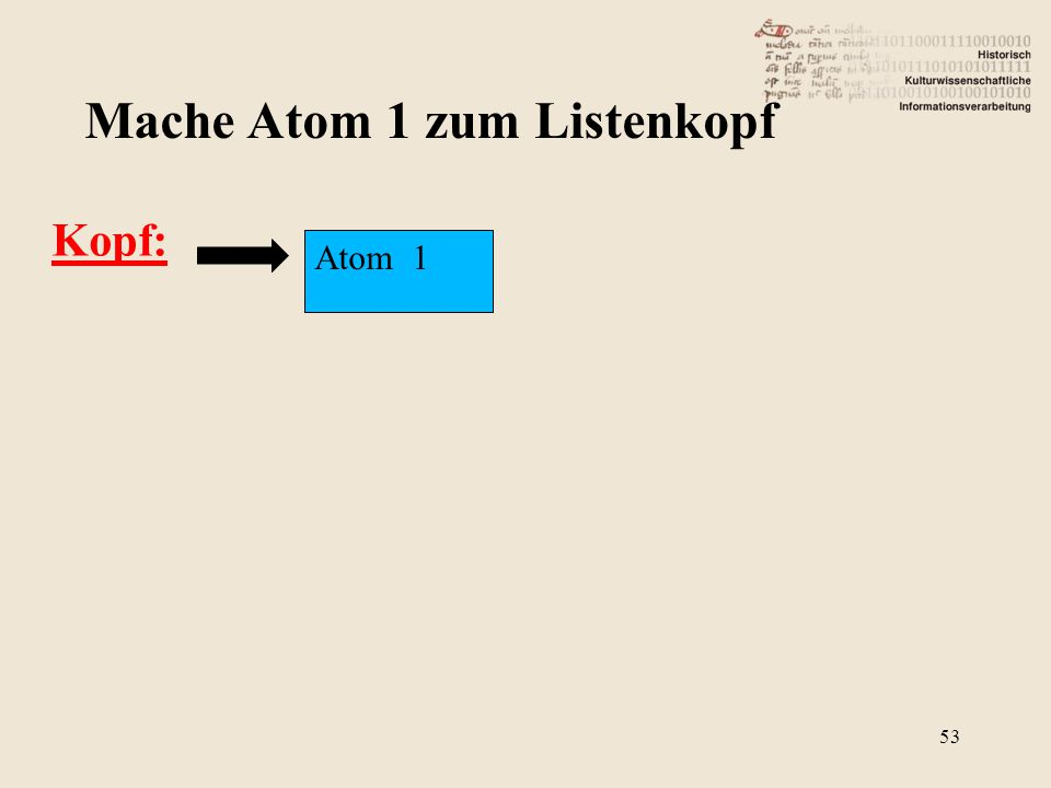 Kopf: Mache Atom 1 zum Listenkopf Atom 1 53