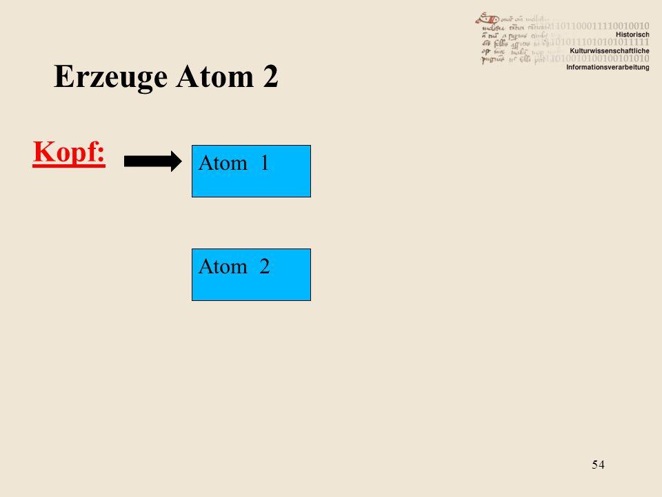 Kopf: Erzeuge Atom 2 Atom 1 Atom 2 54