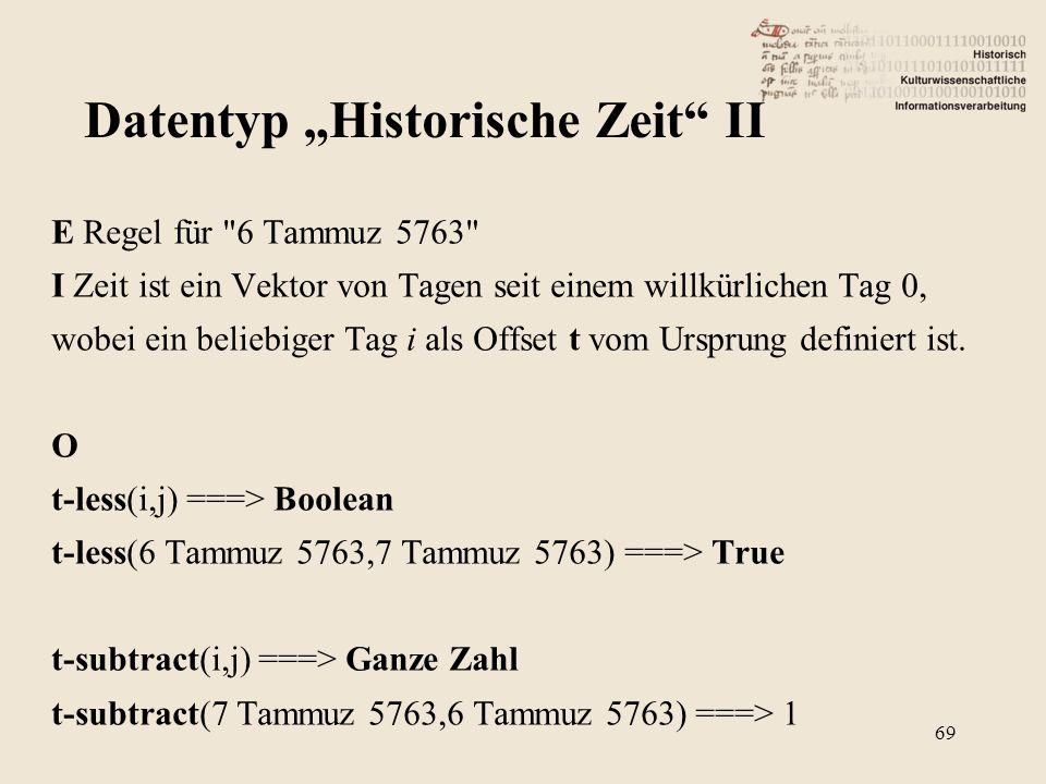 E Regel für 6 Tammuz 5763 I Zeit ist ein Vektor von Tagen seit einem willkürlichen Tag 0, wobei ein beliebiger Tag i als Offset t vom Ursprung definiert ist.