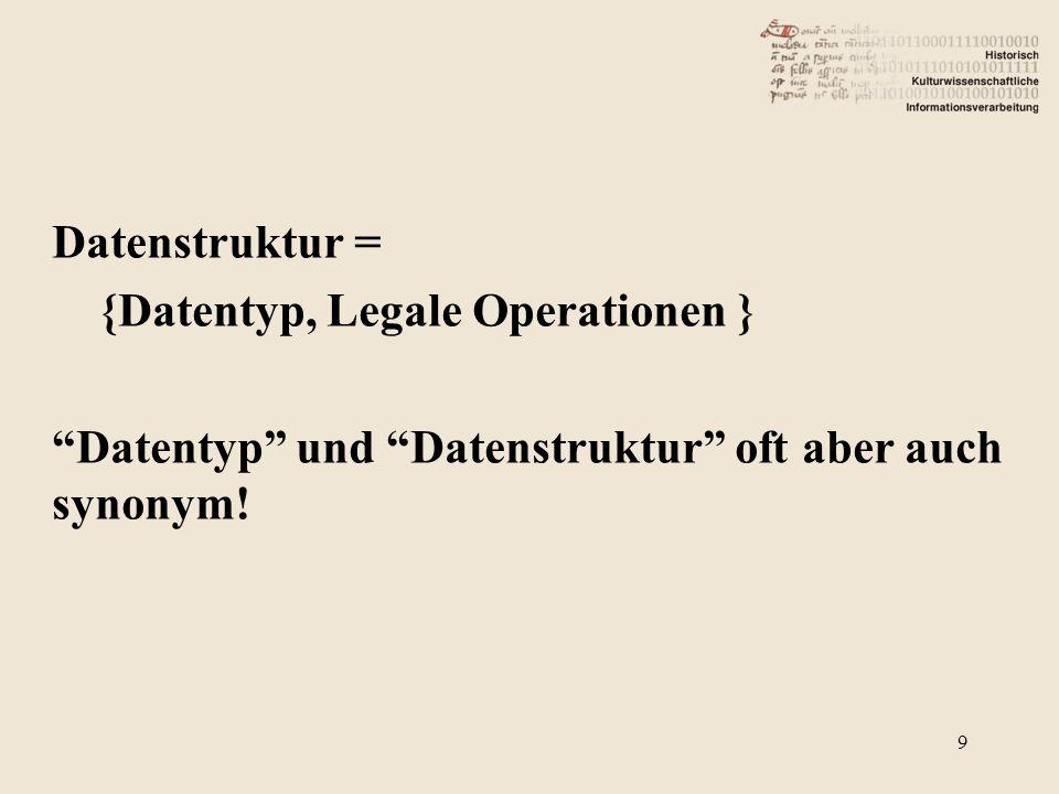 Datenstruktur = {Datentyp, Legale Operationen } Datentyp und Datenstruktur oft aber auch synonym.