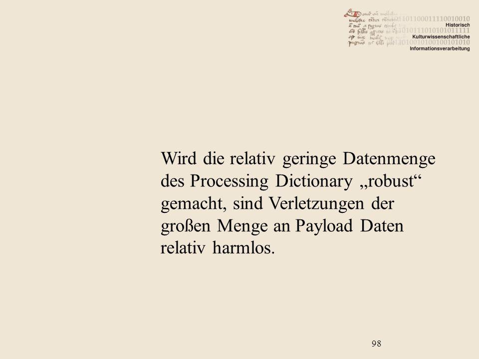 """Wird die relativ geringe Datenmenge des Processing Dictionary """"robust gemacht, sind Verletzungen der großen Menge an Payload Daten relativ harmlos."""