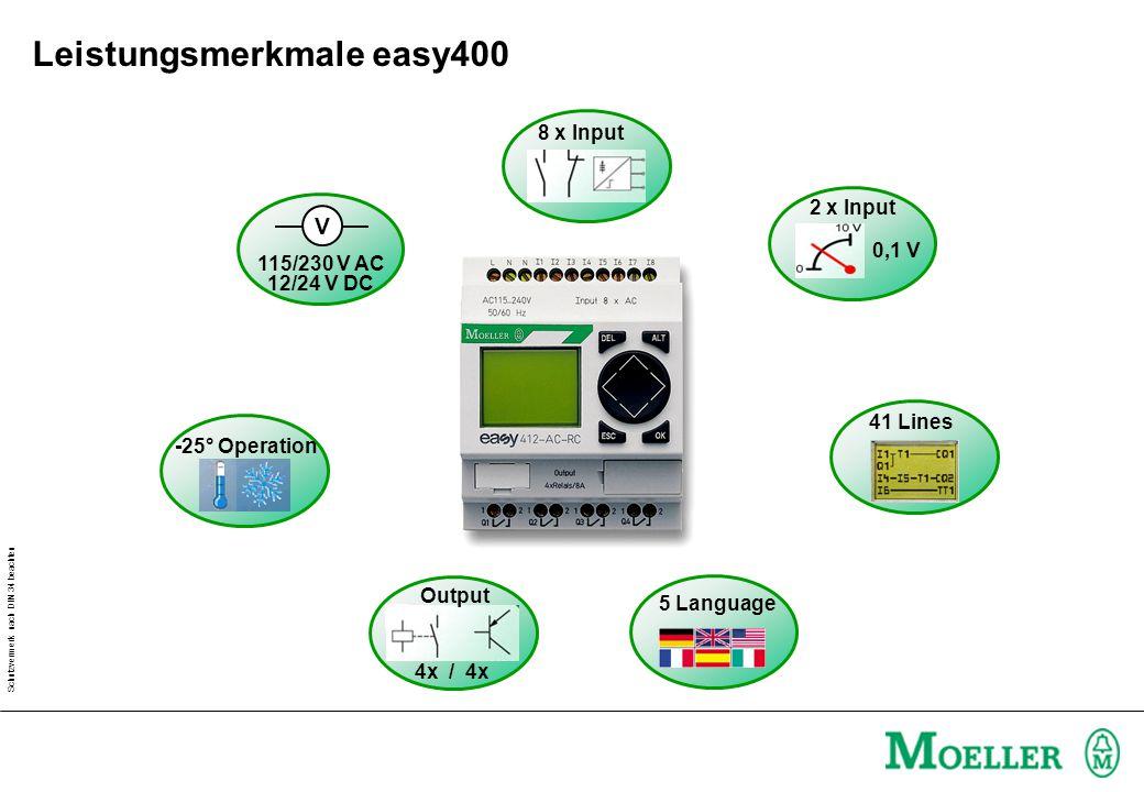 Schutzvermerk nach DIN 34 beachten 115/230 V AC 12/24 V DC V 8 x Input 2 x Input 0,1 V 4x / 4x Output 41 Lines -25° Operation 5 Language Leistungsmerkmale easy400