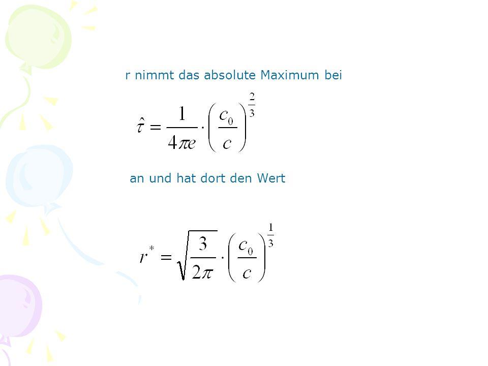 r nimmt das absolute Maximum bei an und hat dort den Wert