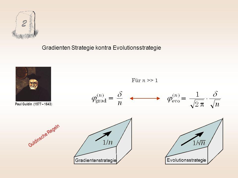 2 Gradienten Strategie kontra Evolutionsstrategie Für n >> 1 Evolutionsstrategie Gradientenstrategie Paul Guldin (1577 – 1643 ) Guldinsche Regeln