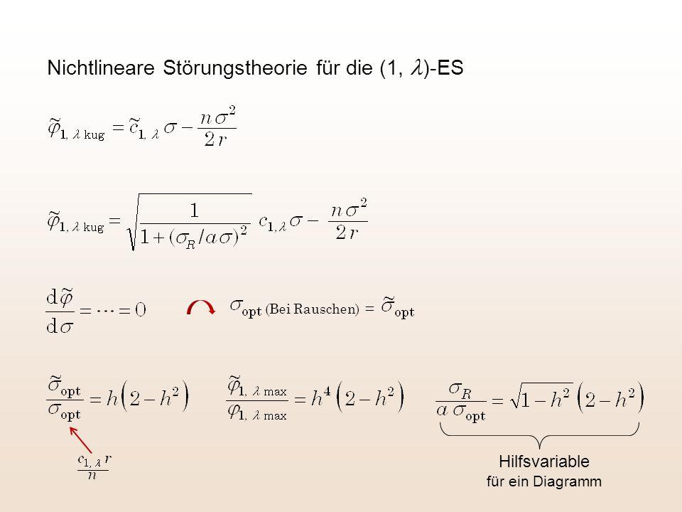 Nichtlineare Störungstheorie für die (1, )-ES Hilfsvariable für ein Diagramm (Bei Rauschen) =