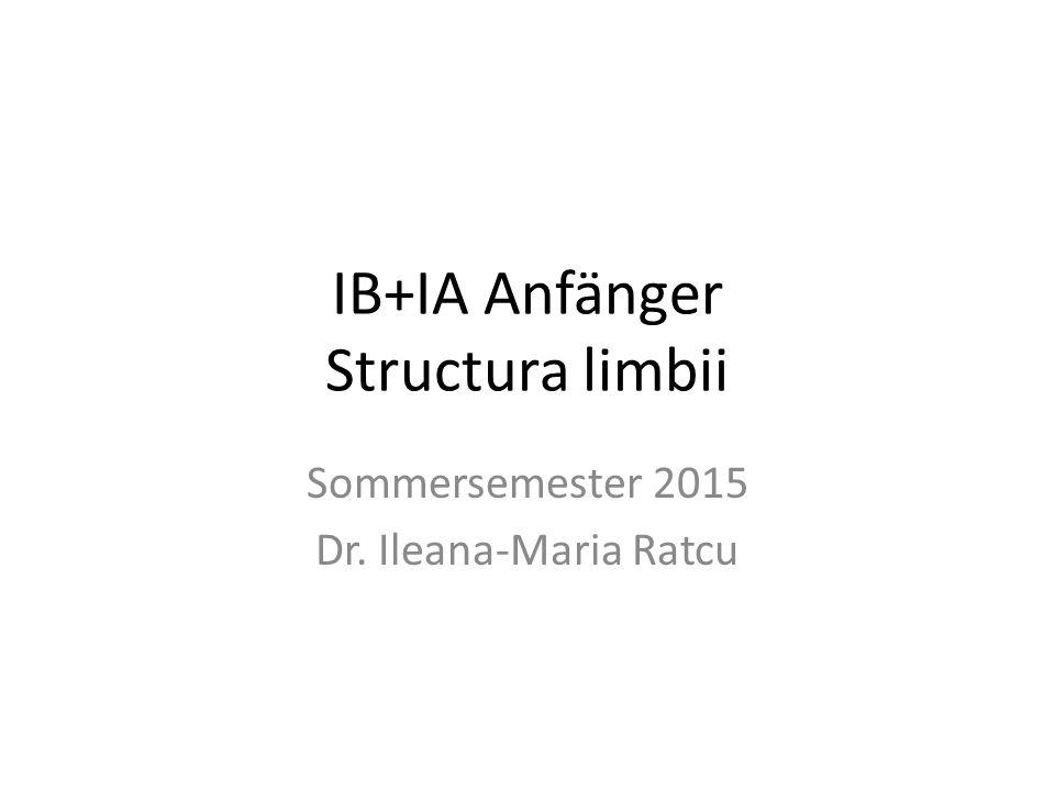 IB+IA Anfänger Structura limbii Sommersemester 2015 Dr. Ileana-Maria Ratcu