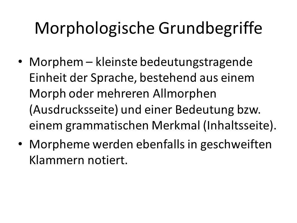Morphologische Grundbegriffe Morphem – kleinste bedeutungstragende Einheit der Sprache, bestehend aus einem Morph oder mehreren Allmorphen (Ausdrucksseite) und einer Bedeutung bzw.