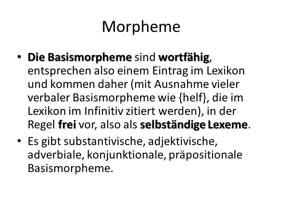 Morpheme Die Basismorphemewortfähig freiselbständige Lexeme Die Basismorpheme sind wortfähig, entsprechen also einem Eintrag im Lexikon und kommen daher (mit Ausnahme vieler verbaler Basismorpheme wie {helf}, die im Lexikon im Infinitiv zitiert werden), in der Regel frei vor, also als selbständige Lexeme.