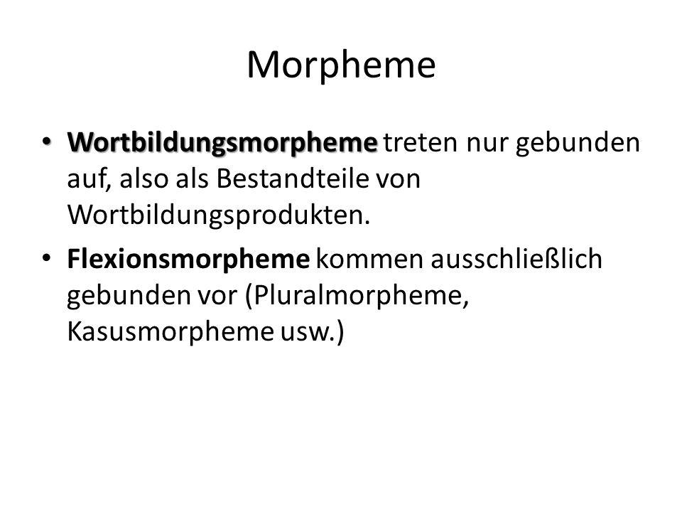 Morpheme Wortbildungsmorpheme Wortbildungsmorpheme treten nur gebunden auf, also als Bestandteile von Wortbildungsprodukten.