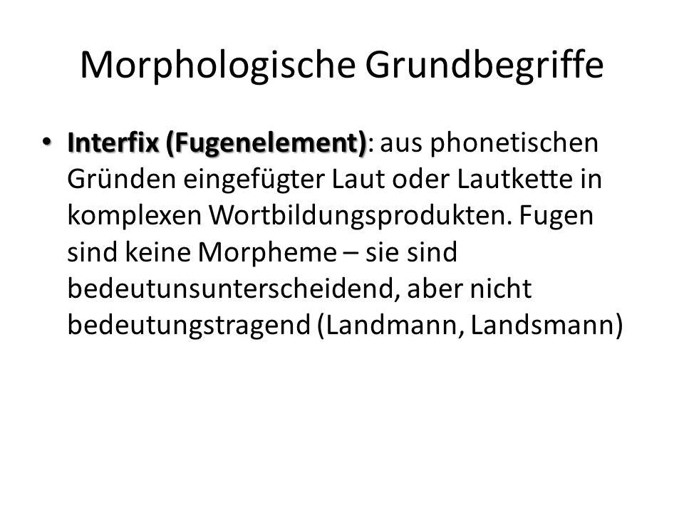 Morphologische Grundbegriffe Interfix (Fugenelement) Interfix (Fugenelement): aus phonetischen Gründen eingefügter Laut oder Lautkette in komplexen Wortbildungsprodukten.