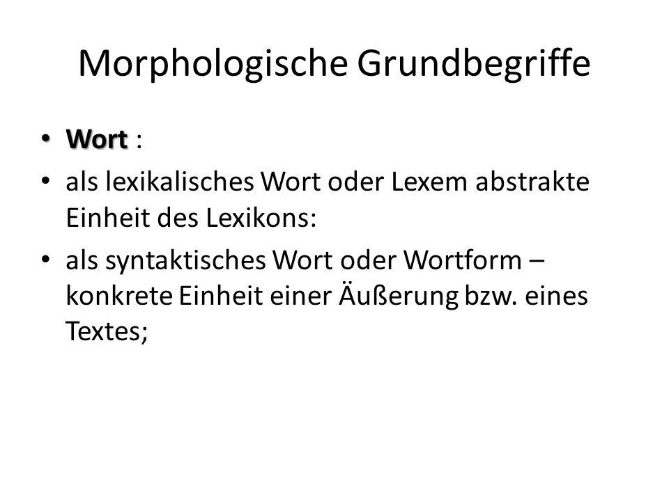 Morphologische Grundbegriffe Wort Wort : als lexikalisches Wort oder Lexem abstrakte Einheit des Lexikons: als syntaktisches Wort oder Wortform – konkrete Einheit einer Äußerung bzw.