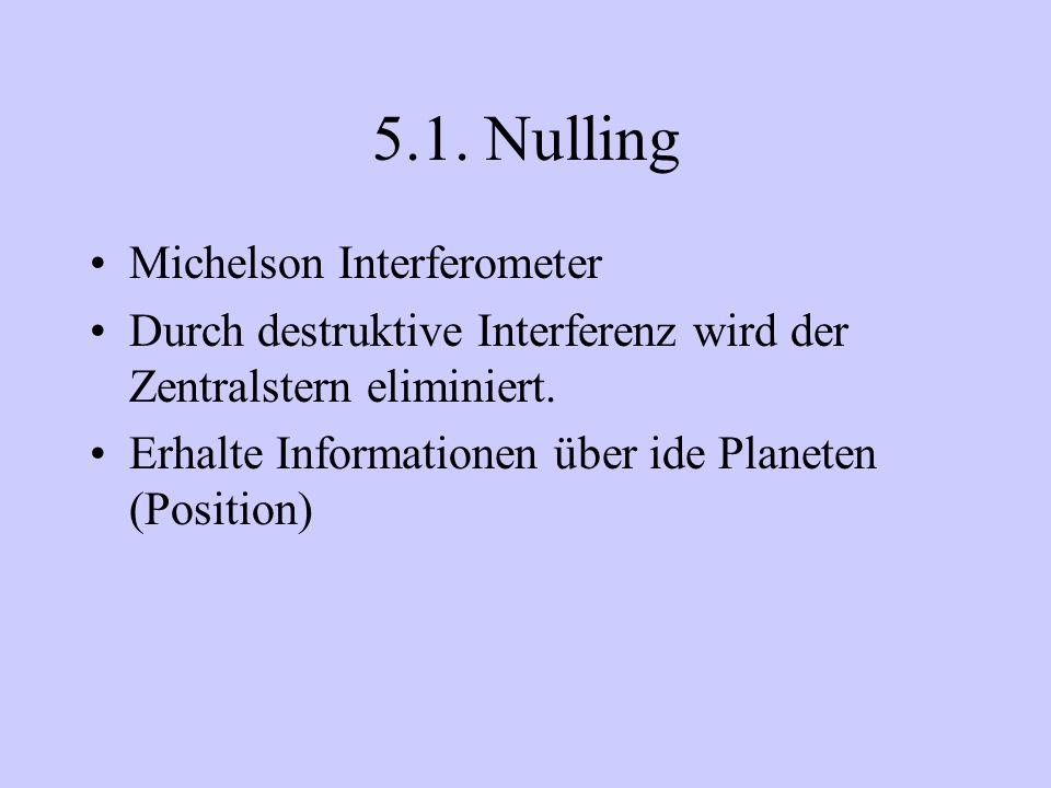 5.1. Nulling Michelson Interferometer Durch destruktive Interferenz wird der Zentralstern eliminiert. Erhalte Informationen über ide Planeten (Positio