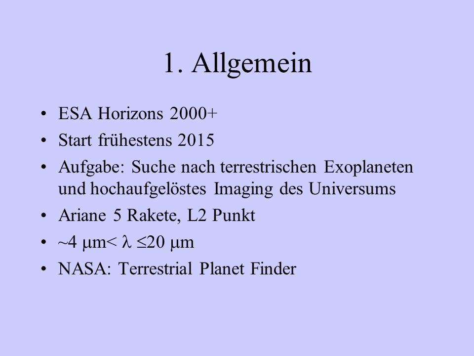 1. Allgemein ESA Horizons 2000+ Start frühestens 2015 Aufgabe: Suche nach terrestrischen Exoplaneten und hochaufgelöstes Imaging des Universums Ariane