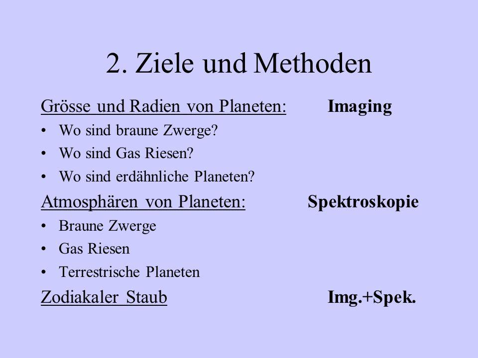 2. Ziele und Methoden Grösse und Radien von Planeten:Imaging Wo sind braune Zwerge? Wo sind Gas Riesen? Wo sind erdähnliche Planeten? Atmosphären von