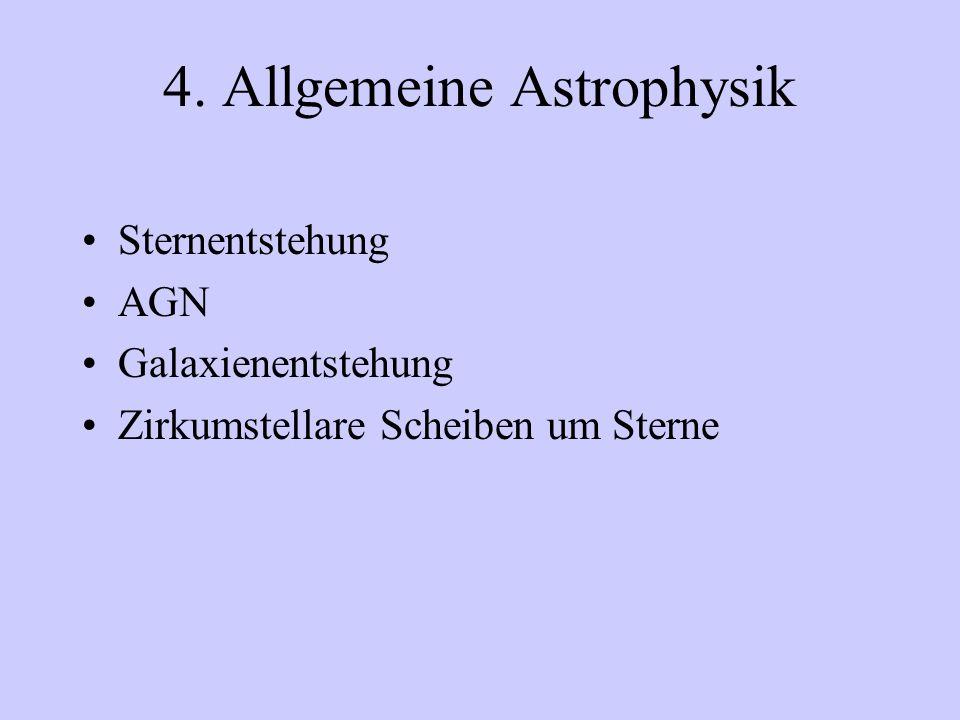 4. Allgemeine Astrophysik Sternentstehung AGN Galaxienentstehung Zirkumstellare Scheiben um Sterne