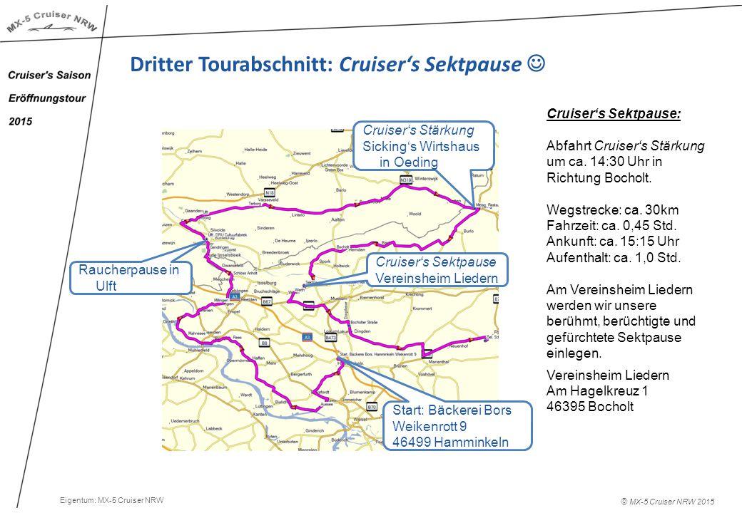 © MX-5 Cruiser NRW 2015 Dritter Tourabschnitt: Cruiser's Sektpause Cruiser's Sektpause: Abfahrt Cruiser's Stärkung um ca.