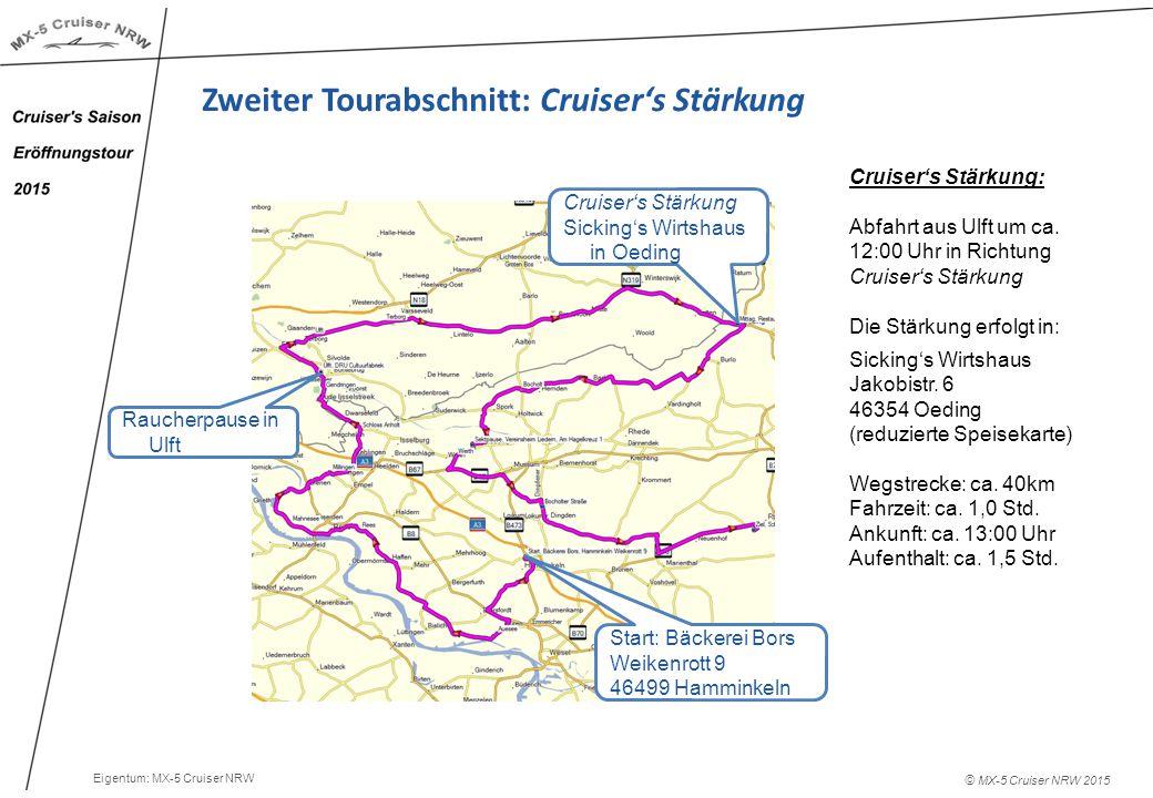 © MX-5 Cruiser NRW 2015 Zweiter Tourabschnitt: Cruiser's Stärkung Cruiser's Stärkung: Abfahrt aus Ulft um ca.