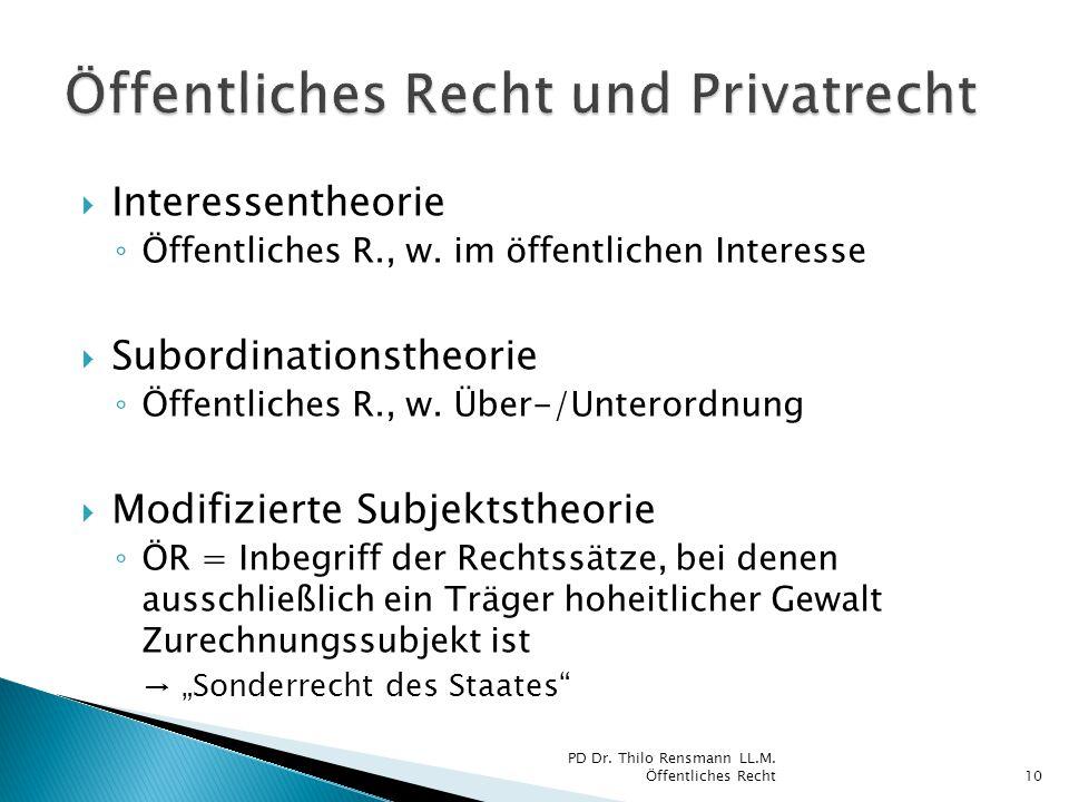  Interessentheorie ◦ Öffentliches R., w. im öffentlichen Interesse  Subordinationstheorie ◦ Öffentliches R., w. Über-/Unterordnung  Modifizierte Su