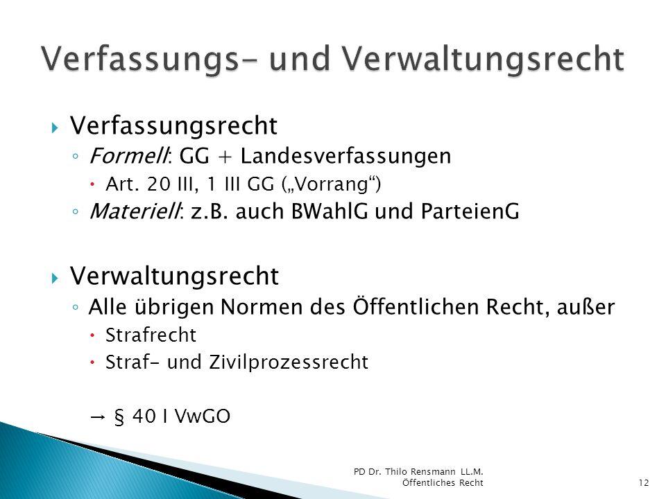 """ Verfassungsrecht ◦ Formell: GG + Landesverfassungen  Art. 20 III, 1 III GG (""""Vorrang"""") ◦ Materiell: z.B. auch BWahlG und ParteienG  Verwaltungsrec"""