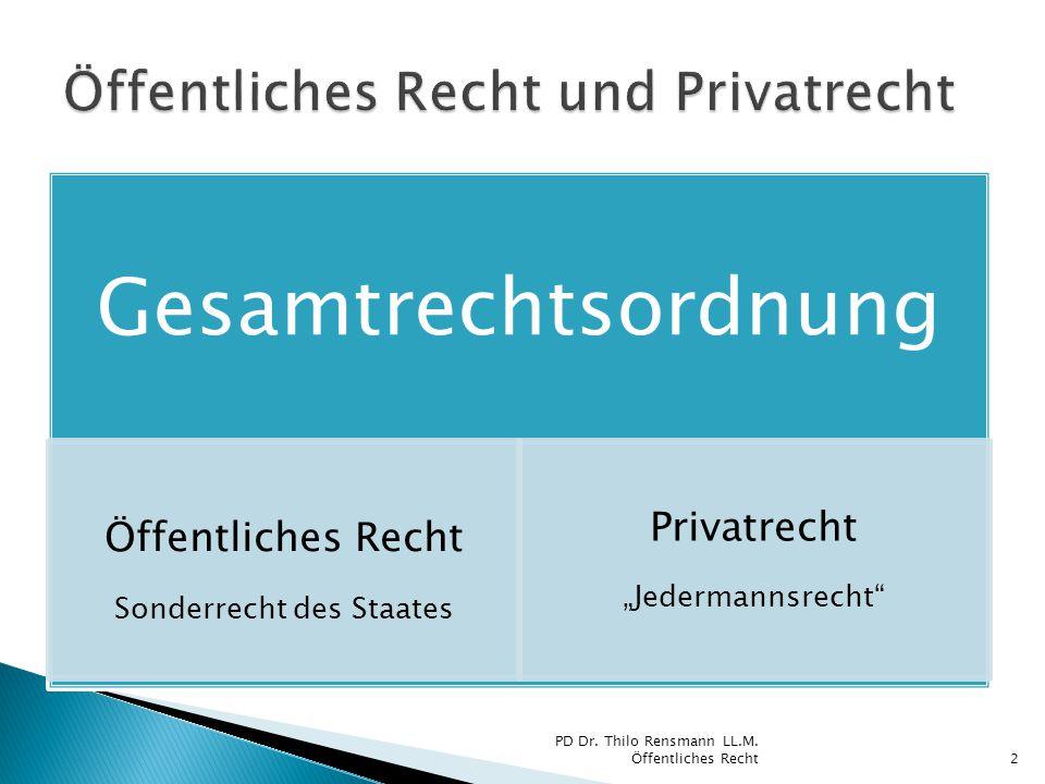 """Gesamtrechtsordnung Öffentliches Recht Sonderrecht des Staates Privatrecht """"Jedermannsrecht"""" PD Dr. Thilo Rensmann LL.M. Öffentliches Recht2"""