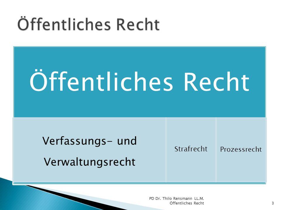 Öffentliches Recht Verfassungs- und Verwaltungsrecht Strafrecht Prozessrecht PD Dr. Thilo Rensmann LL.M. Öffentliches Recht3