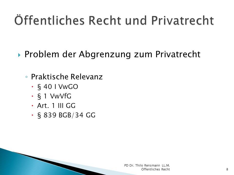  Problem der Abgrenzung zum Privatrecht ◦ Praktische Relevanz  § 40 I VwGO  § 1 VwVfG  Art. 1 III GG  § 839 BGB/34 GG PD Dr. Thilo Rensmann LL.M.
