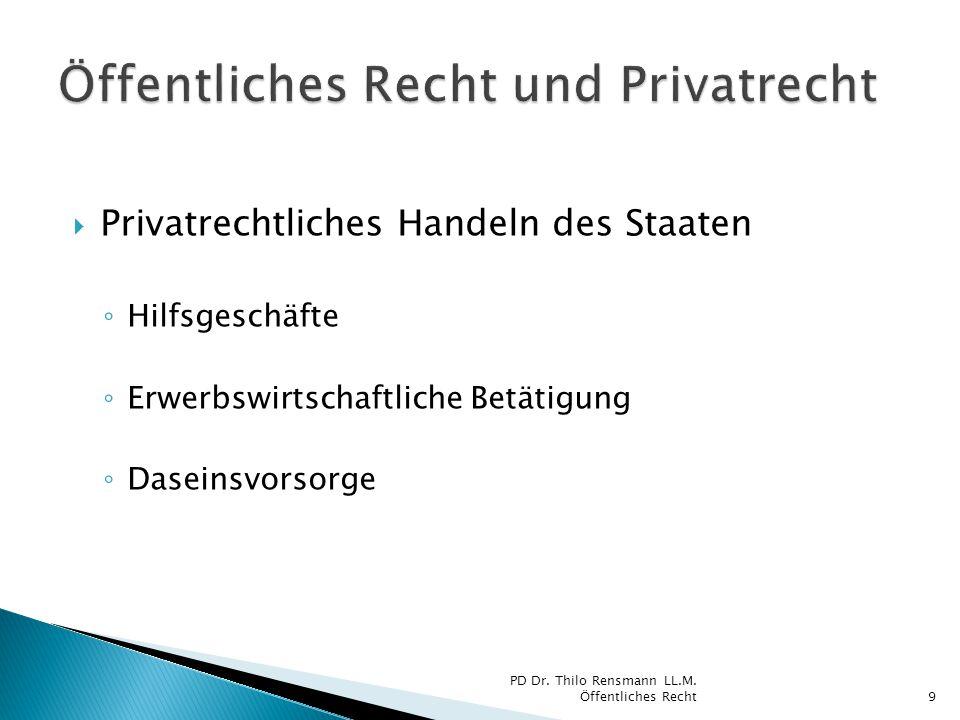  Privatrechtliches Handeln des Staaten ◦ Hilfsgeschäfte ◦ Erwerbswirtschaftliche Betätigung ◦ Daseinsvorsorge PD Dr. Thilo Rensmann LL.M. Öffentliche