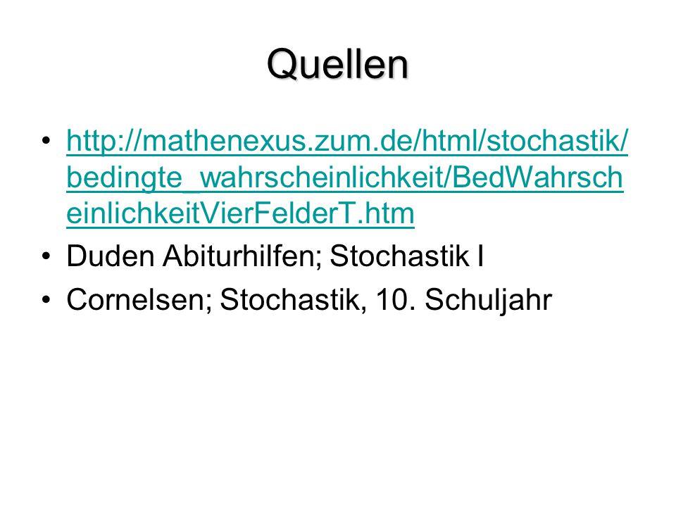 Quellen http://mathenexus.zum.de/html/stochastik/ bedingte_wahrscheinlichkeit/BedWahrsch einlichkeitVierFelderT.htmhttp://mathenexus.zum.de/html/stoch