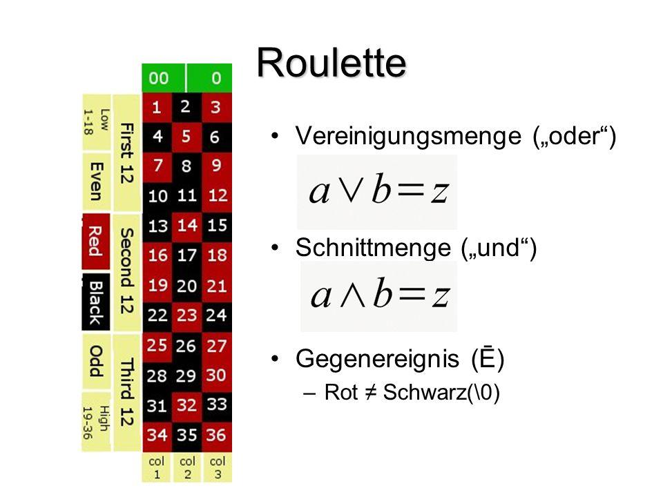 """Roulette Vereinigungsmenge (""""oder"""") Schnittmenge (""""und"""") Gegenereignis (Ē) –Rot ≠ Schwarz(\0)"""