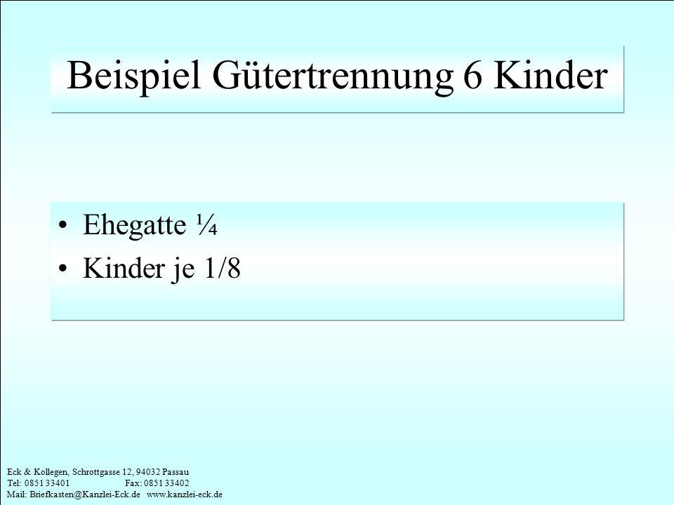Eck & Kollegen, Schrottgasse 12, 94032 Passau Tel: 0851 33401 Fax: 0851 33402 Mail: Briefkasten@Kanzlei-Eck.de www.kanzlei-eck.de Beispiel Gütertrennu