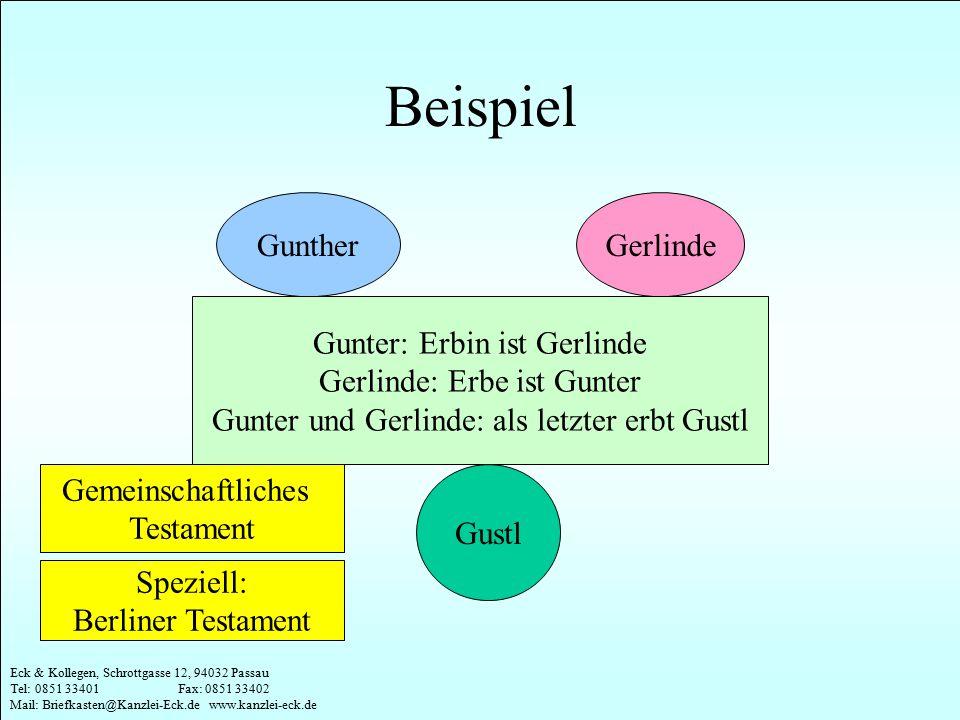 Eck & Kollegen, Schrottgasse 12, 94032 Passau Tel: 0851 33401 Fax: 0851 33402 Mail: Briefkasten@Kanzlei-Eck.de www.kanzlei-eck.de Beispiel GuntherGerl