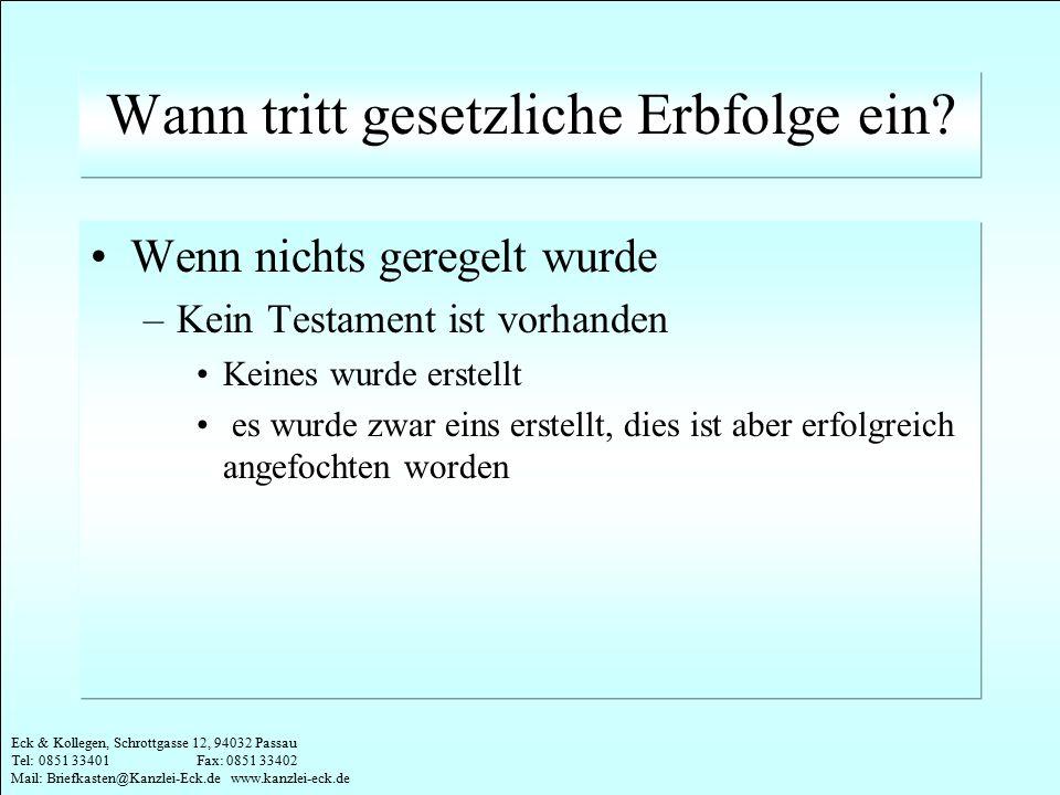 Eck & Kollegen, Schrottgasse 12, 94032 Passau Tel: 0851 33401 Fax: 0851 33402 Mail: Briefkasten@Kanzlei-Eck.de www.kanzlei-eck.de Praktische Umsetzung Klare Verhältnisse schaffen: –Einzahlung des geschenkten Geldes auf Konto des Beschenkten –Prämienzahlung vom Konto des Beschenkten –Folge: keine Meldung durch Versicherungsgesellschaft an FA Sonst Gefahr: –FA überprüft Vertrag