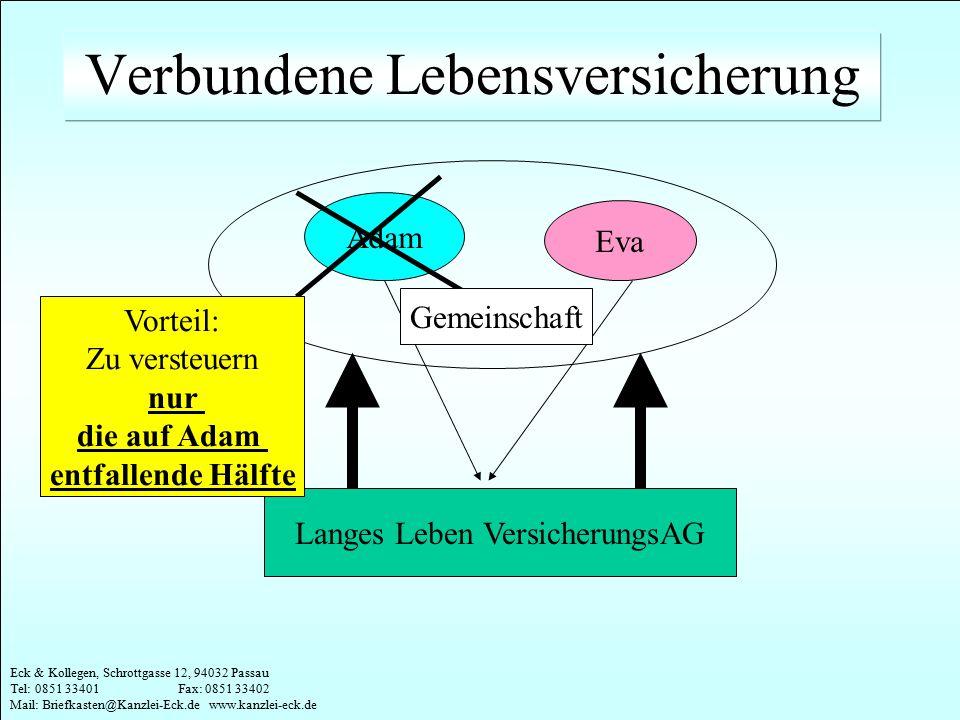 Eck & Kollegen, Schrottgasse 12, 94032 Passau Tel: 0851 33401 Fax: 0851 33402 Mail: Briefkasten@Kanzlei-Eck.de www.kanzlei-eck.de Langes Leben Versich