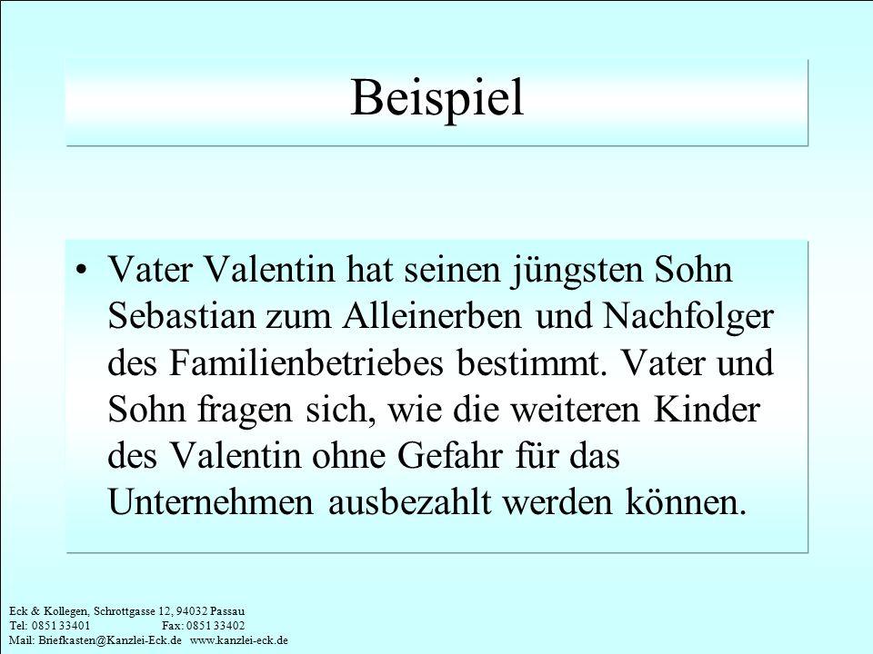Eck & Kollegen, Schrottgasse 12, 94032 Passau Tel: 0851 33401 Fax: 0851 33402 Mail: Briefkasten@Kanzlei-Eck.de www.kanzlei-eck.de Beispiel Vater Valen