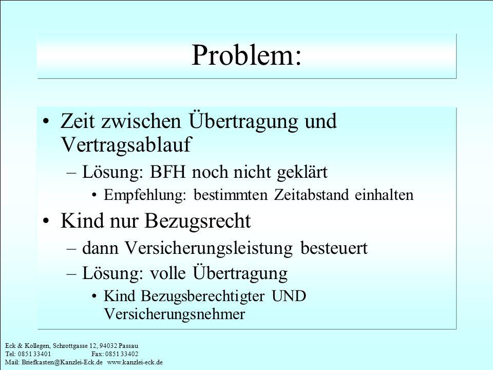Eck & Kollegen, Schrottgasse 12, 94032 Passau Tel: 0851 33401 Fax: 0851 33402 Mail: Briefkasten@Kanzlei-Eck.de www.kanzlei-eck.de Problem: Zeit zwisch