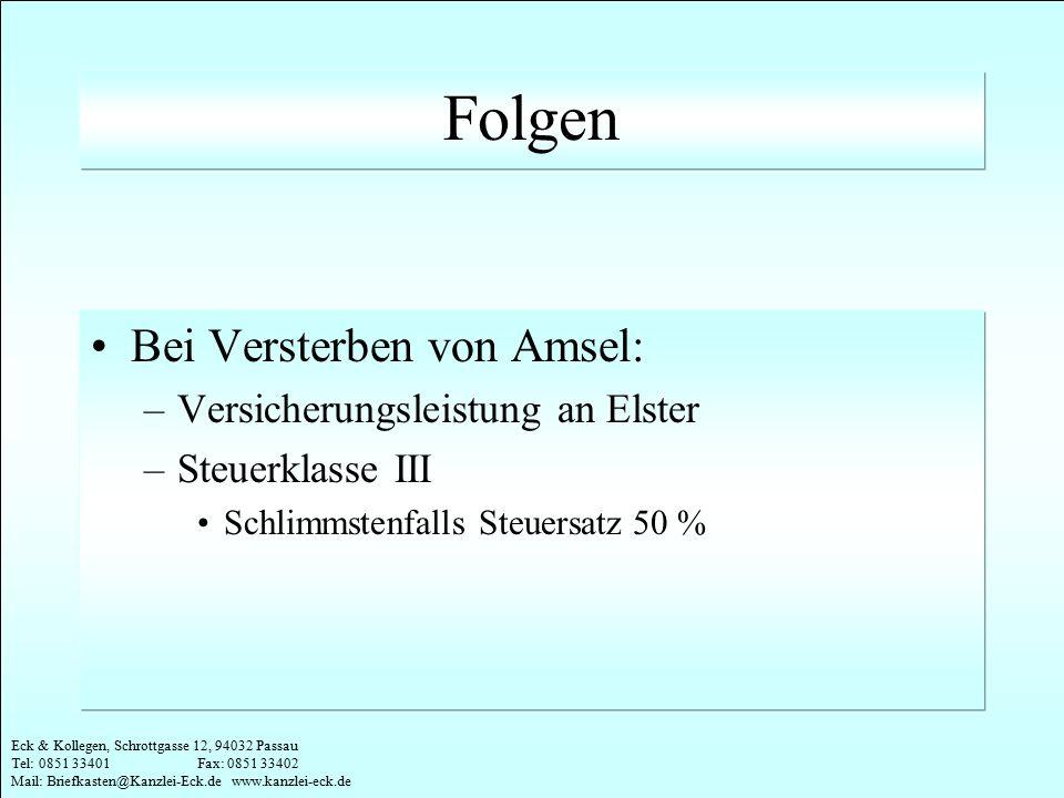 Eck & Kollegen, Schrottgasse 12, 94032 Passau Tel: 0851 33401 Fax: 0851 33402 Mail: Briefkasten@Kanzlei-Eck.de www.kanzlei-eck.de Folgen Bei Versterbe
