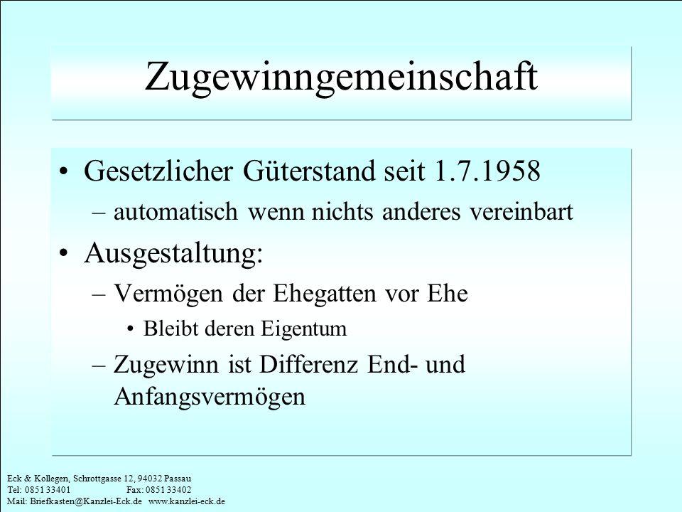 Eck & Kollegen, Schrottgasse 12, 94032 Passau Tel: 0851 33401 Fax: 0851 33402 Mail: Briefkasten@Kanzlei-Eck.de www.kanzlei-eck.de Beispiel Der alternde Schlagerstar Amsel (65 Jahre) hat eine Lebenspartnerin, Fräulein Elster (35 Jahre).