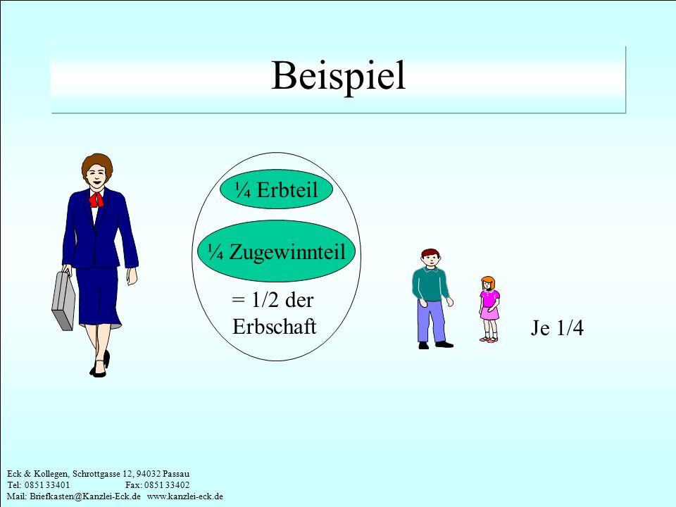 Eck & Kollegen, Schrottgasse 12, 94032 Passau Tel: 0851 33401 Fax: 0851 33402 Mail: Briefkasten@Kanzlei-Eck.de www.kanzlei-eck.de ¼ Erbteil ¼ Zugewinn