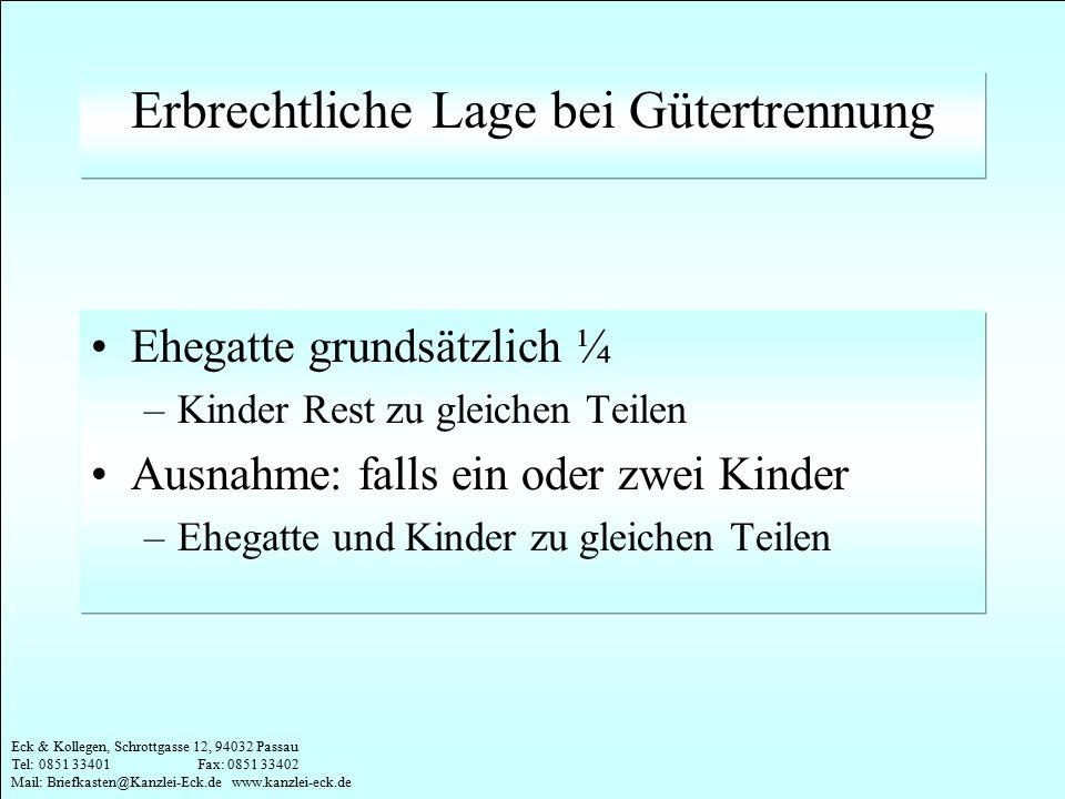 Eck & Kollegen, Schrottgasse 12, 94032 Passau Tel: 0851 33401 Fax: 0851 33402 Mail: Briefkasten@Kanzlei-Eck.de www.kanzlei-eck.de Beispiel Gütertrennung 1 Kind Ehegatte und Kind erben zu gleichen Teilen –Ehegatte ½ –Kind ½