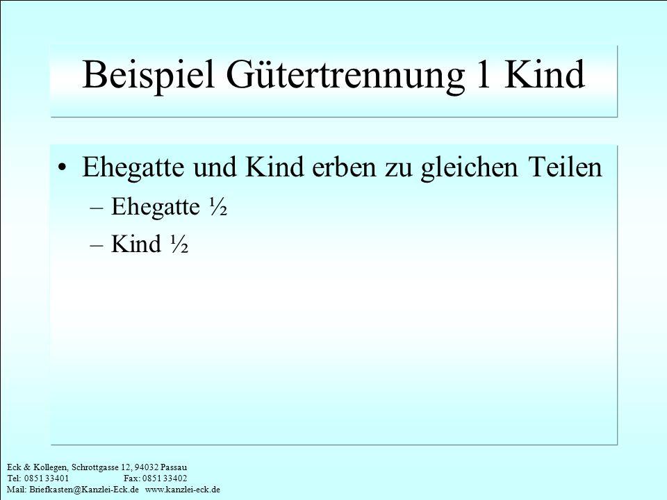 Eck & Kollegen, Schrottgasse 12, 94032 Passau Tel: 0851 33401 Fax: 0851 33402 Mail: Briefkasten@Kanzlei-Eck.de www.kanzlei-eck.de Beispiel Gütertrennung 6 Kinder Ehegatte ¼ Kinder je 1/8