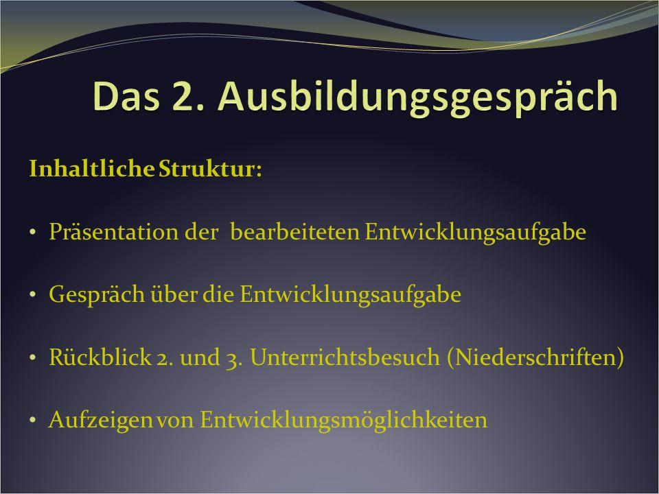 Inhaltliche Struktur: Präsentation der bearbeiteten Entwicklungsaufgabe Gespräch über die Entwicklungsaufgabe Rückblick 2.