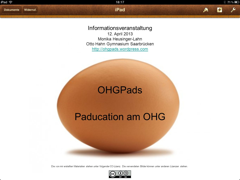 OHGPads Paducation am OHG Informationsveranstaltung 12.
