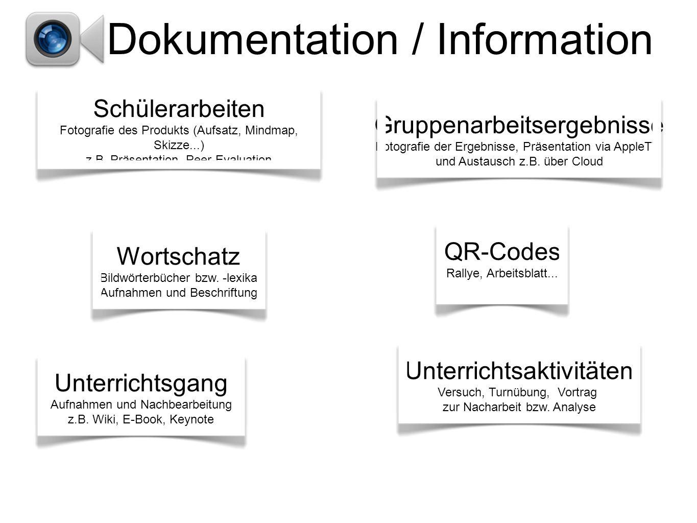 Dokumentation / Information Unterrichtsgang Aufnahmen und Nachbearbeitung z.B.