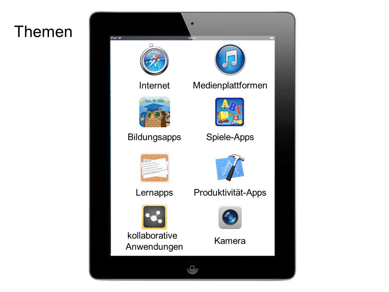 Themen Internet BildungsappsSpiele-Apps Lernapps kollaborative Anwendungen Produktivität-Apps Kamera Medienplattformen