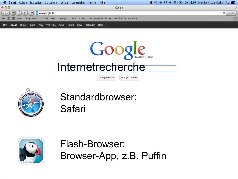 Standardbrowser: Safari Flash-Browser: Browser-App, z.B. Puffin Internetrecherche