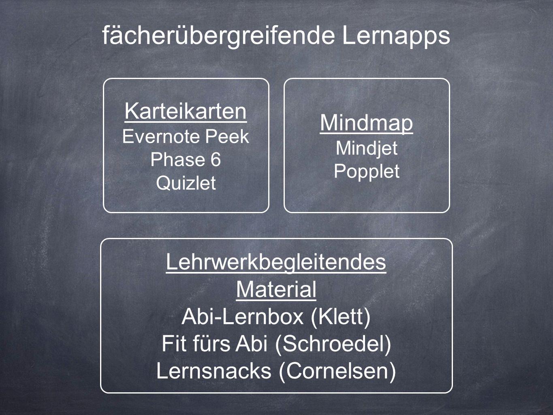 fächerübergreifende Lernapps Karteikarten Evernote Peek Phase 6 Quizlet Lehrwerkbegleitendes Material Abi-Lernbox (Klett) Fit fürs Abi (Schroedel) Lernsnacks (Cornelsen) Mindmap Mindjet Popplet